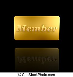 golden member card isolated on dark background