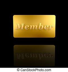 golden member card isolated on dark background