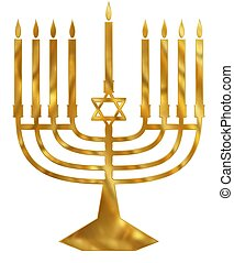 Golden Menorah - Illustration of a golden Menorah candelabra