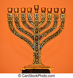 menorah - golden menorah, jewish souvenir