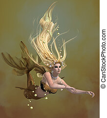 Golden Mermaid - A mermaid is a mythical legendary creature...