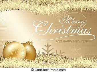 Golden Merry Christmas Greeting