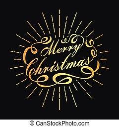 Golden Merry Christmas lettering design. Christmas typography.