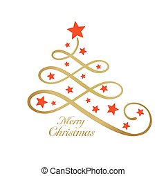 Golden Merry wording with Christmas tree and stars, line art