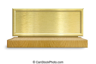 Golden metal frame on wooden stand