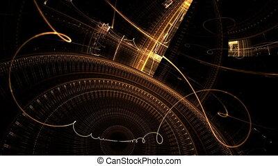 Old metallic clock mechanism, golden cogwheels and gears on black background, fantasy clockwork, abstract illustration animated, 30fps, HD1080, seamless loop