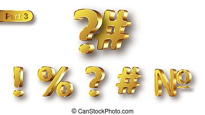 Golden metal numbers realistic vector