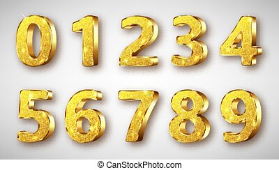 Golden metal numbers realistic with sparkles