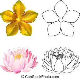 Golden metal pattern flower, pink lotus - Gold pattern...
