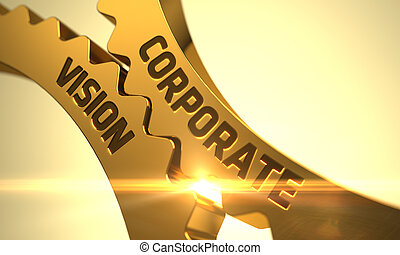 Golden Metallic Gears with Corporate Vision Concept. 3D.