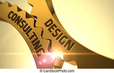 Golden Metallic Gears with Design Consulting Concept. 3D.