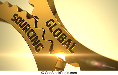 Golden Metallic Gears with Global Sourcing Concept. 3D. - ...