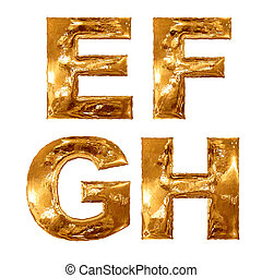 Golden metallic letters isolated on white background.