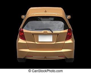 Golden metallic modern compact car - back view