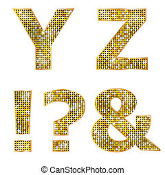 Golden metallic shiny letters