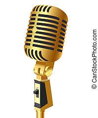 gold(en), microfone, isolado