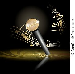 golden microphone - on an abstract dark background is big...