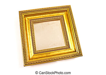 Golden mirror with baroque frame isolated on white