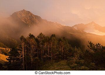 Golden mist mountain landscape full of power.