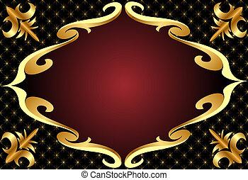 gold(en), modèle, cadre, arrière-plan noir