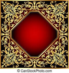 gold(en), modèle, cadre, arrière-plan rouge