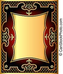 gold(en), modèle, cadre, fond, filet, rouges