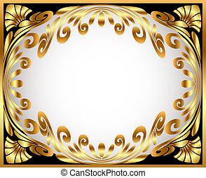 gold(en), modèle, cadre, horizontal, enroulement