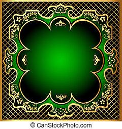 gold(en), modèle, cadre, m, arrière-plan vert, filet