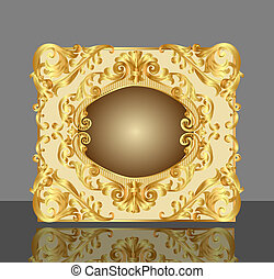 gold(en), modèle, cadre, reflet, fond