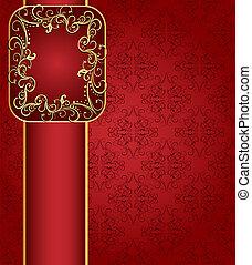 gold(en), modèle, cadre, seamless, illustration, bande, fond, rouges