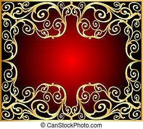 gold(en), modèle, cadre, vieux, fond