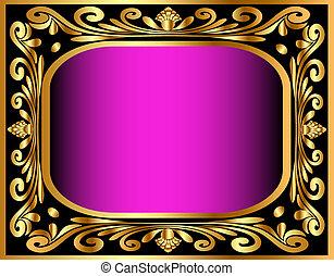gold(en), modèle, cadre, vieux, horizontal