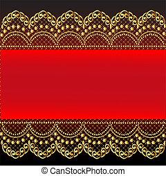 gold(en), modèle, filet, arrière-plan rouge
