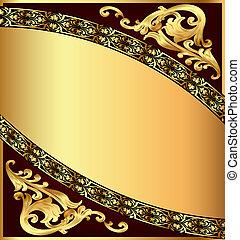 gold(en), modèle, fond, chocolat