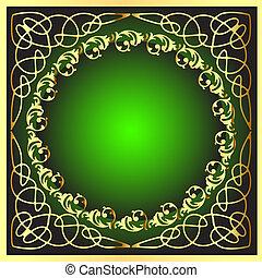 gold(en), model, frame, cirkel
