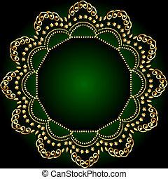 gold(en), model, frame, groene achtergrond