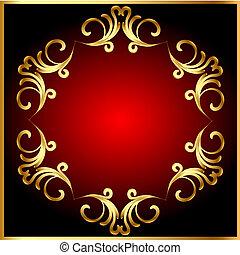 gold(en), modello, cornice, cerchio, fondo