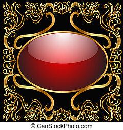 gold(en), modello, cornice, fondo, vetro