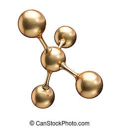 Golden molecule model abstract concept