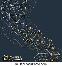 Golden molecule. Molecule and communication background of neurons and nervous system. Graphic background molecules atom dna. Vector illustration.