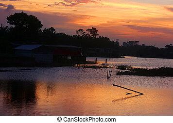 Golden moment after setting sun near Dhaka in Bangladesh