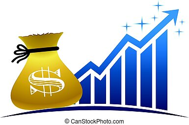 Golden Money Bag with Profitable Finance Bar Graphic Illustration