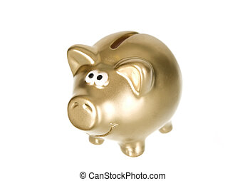 Golden money box pig for savings, finance concept