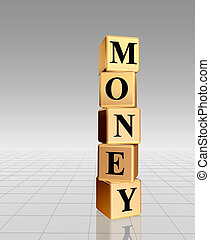 golden money with reflection - 3d golden boxes with text -...