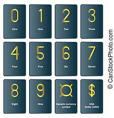"""""""golden, monnaie, symbols"""", -, les, nombre, de"""