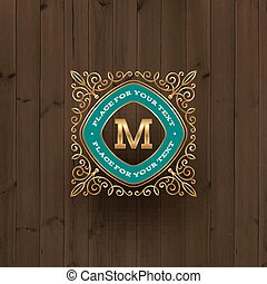 Golden monogram logo template with flourishes calligraphic...