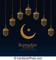 golden moon and hanging lanterns for ramadan kareem background