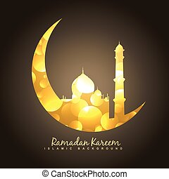 golden moon and mosque