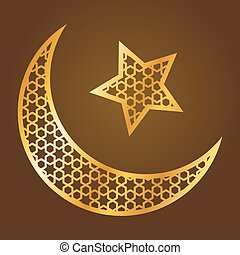 Golden Moon And Star Islamic Symbol - Vector stock of...