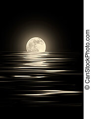 Golden glowing full moon on the Spring Equinox with reflection over rippled water, against black background.
